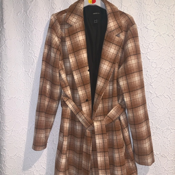 Jackets & Blazers - Plaid trench coat